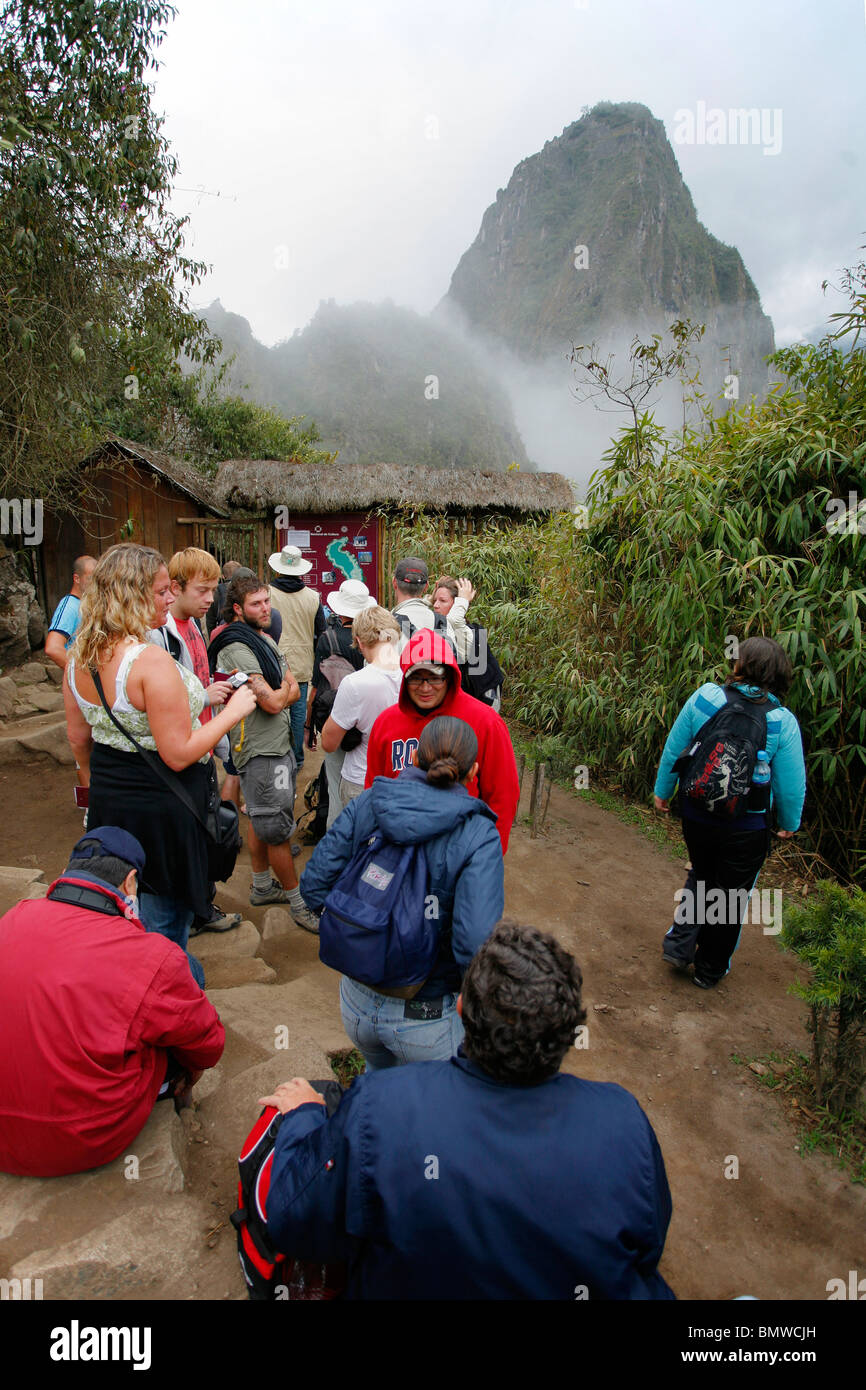 Queue for Huayna Picho climb. Only 400 people per day allowed to climb it. - Stock Image