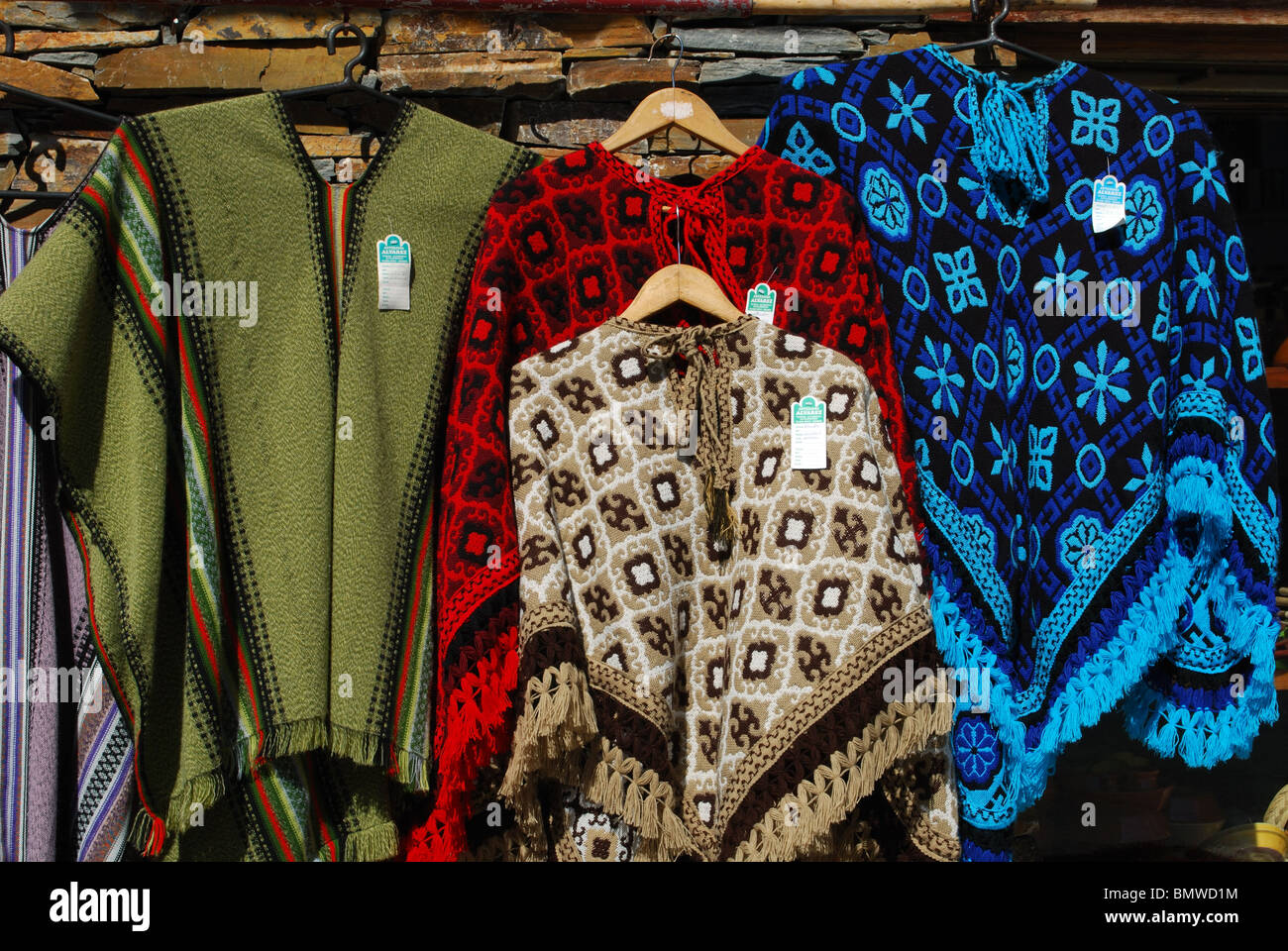 Shop selling locally made ponchos, Trevelez, Las Alpujarras, Granada Province, Andalucia, Spain, Western Europe. - Stock Image
