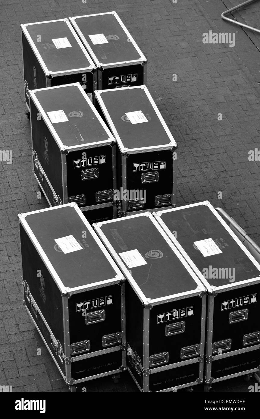Large Boxes containing film production equipment at the British Film Institute London - Stock Image