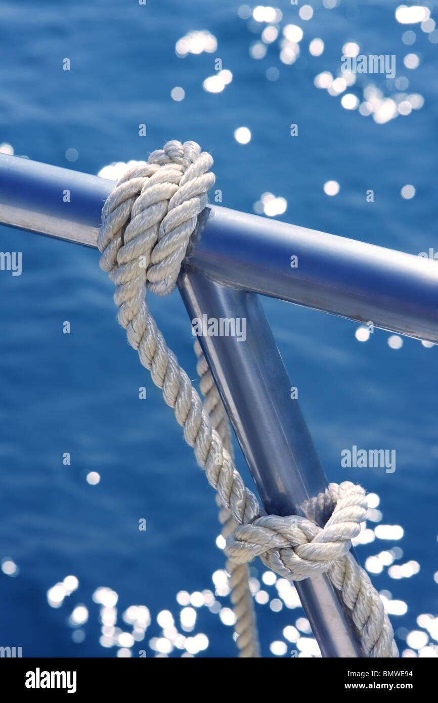 Marine Knot Detail On Stainless Steel Boat Railing Banister