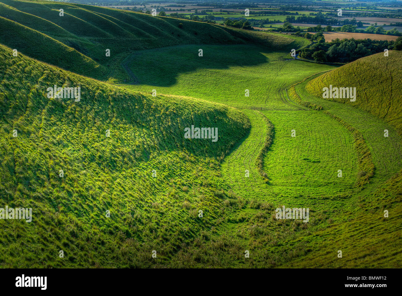 A High Dynamic Range (HDR) image looking into 'The Manger', on White Horse Hill, Uffington,Oxfordshire, - Stock Image