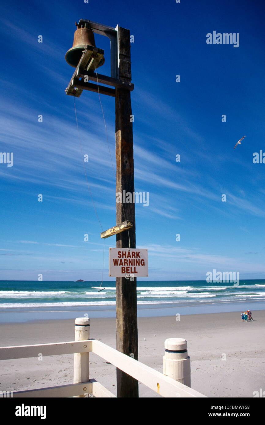 Dunedin New Zealand Shark Warning Bell St Clair Beach Stock Photo