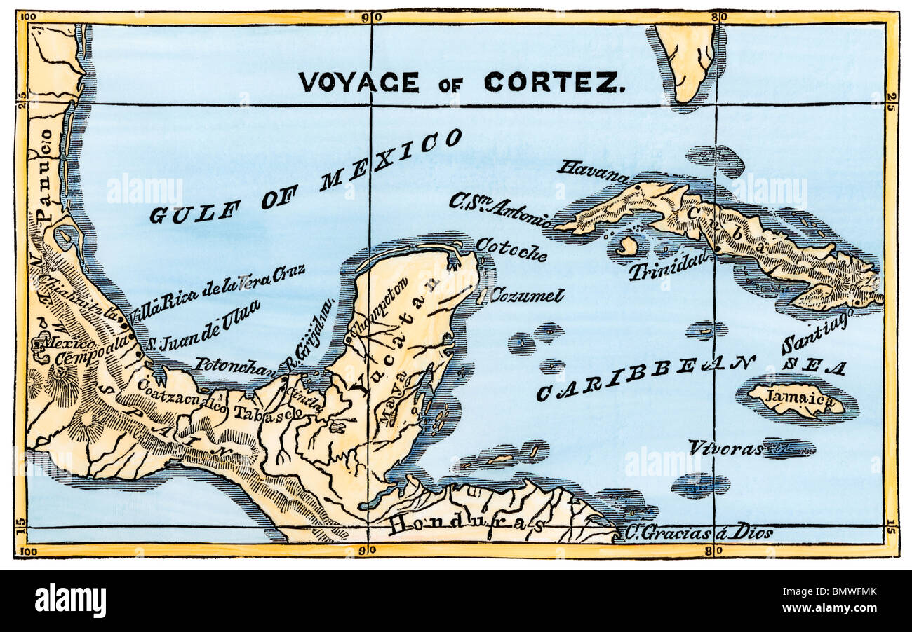 Hernan Cortes Exploration Route Map: Map Of Cortes' Landing Area In Mexico, 1519. Hand-colored