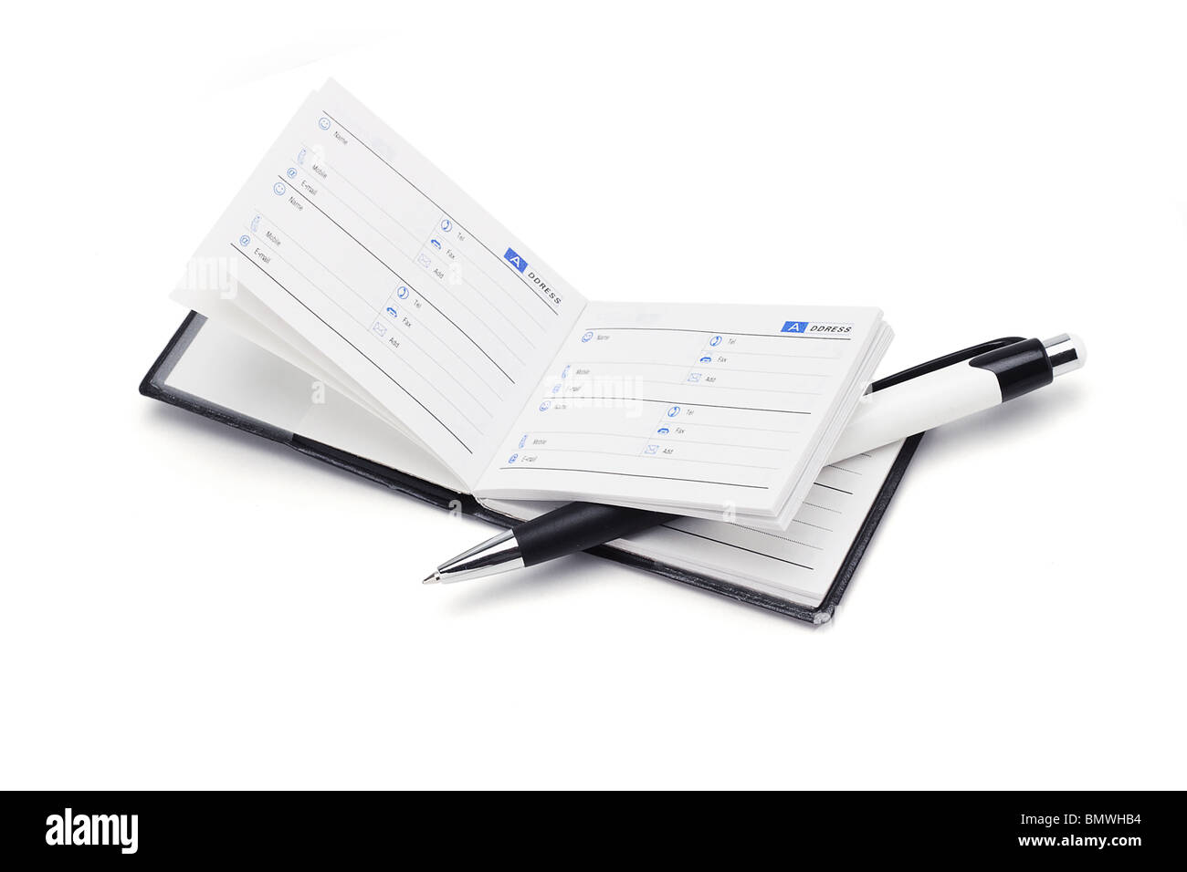 Mini address book and pen on white background - Stock Image