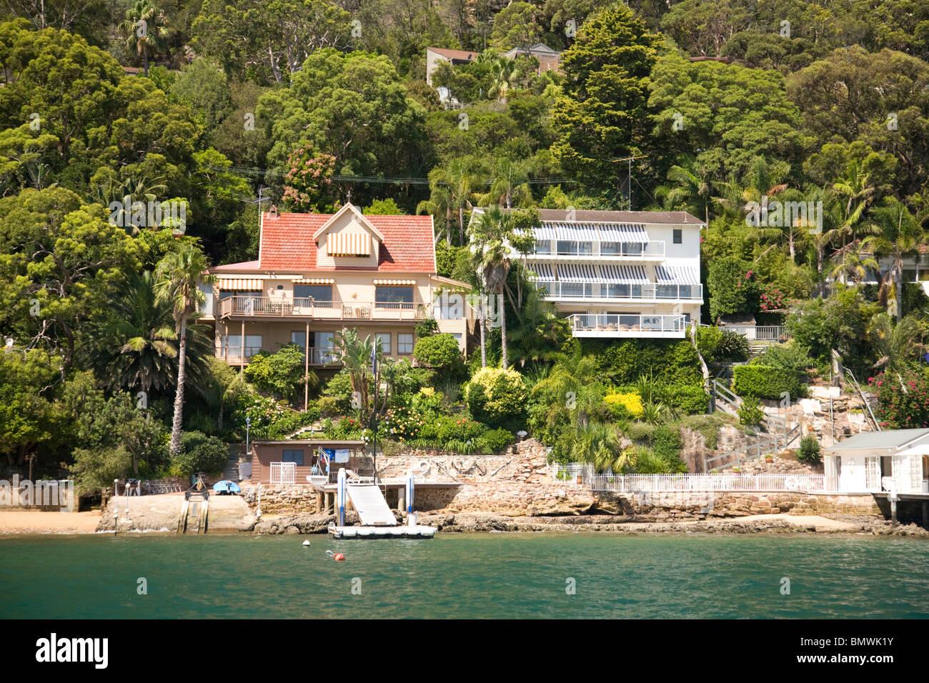Luxury waterfront homes at palm beach sydney australia stock image