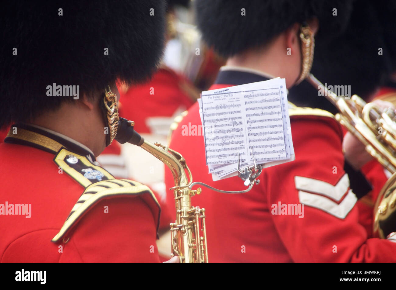 Trooping The Colour 2010 Close-up of band member playing music in courtyard of Buckingham Palace London England - Stock Image