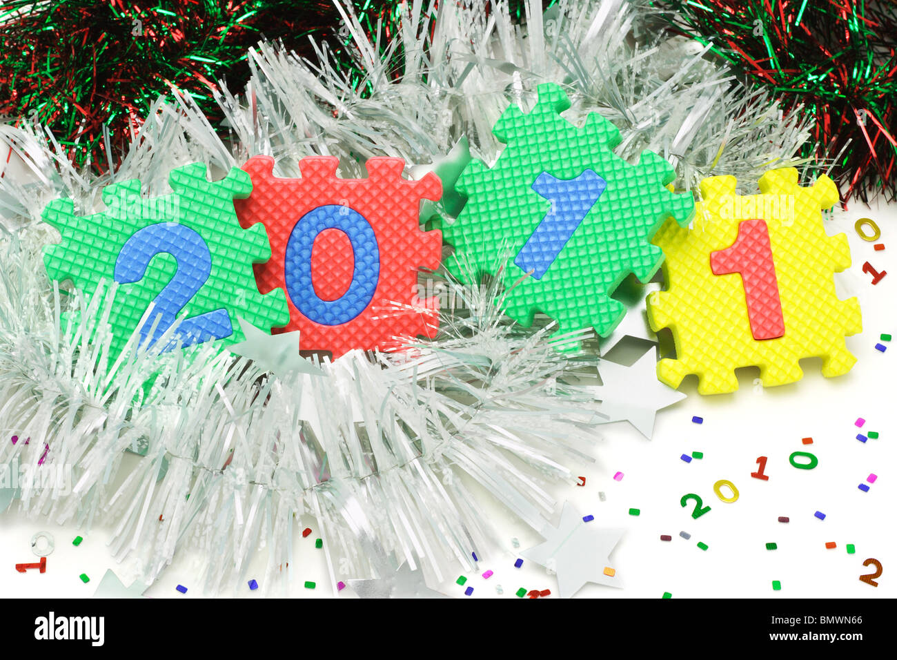 Colorful numeric foam blocks arranged to form 2011 new year - Stock Image