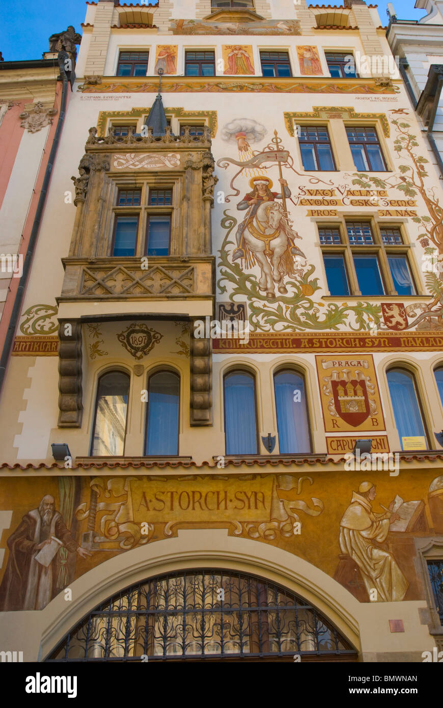 A Storch Syn house old town square Prague Czech Republic Europe - Stock Image