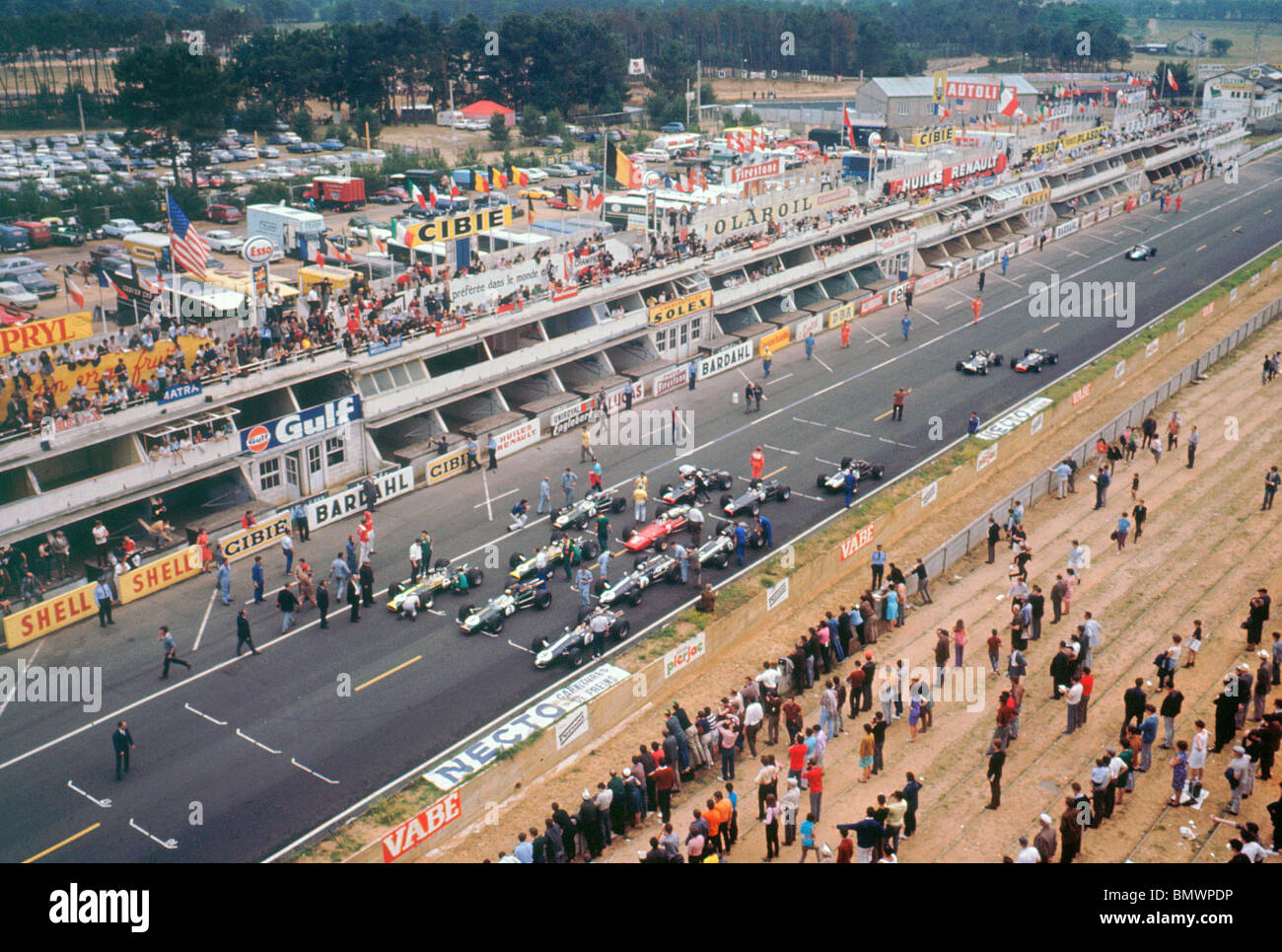 Starting Grid For The 1967 French Grand Prix At The Bugatti Circuit Le Mans Won