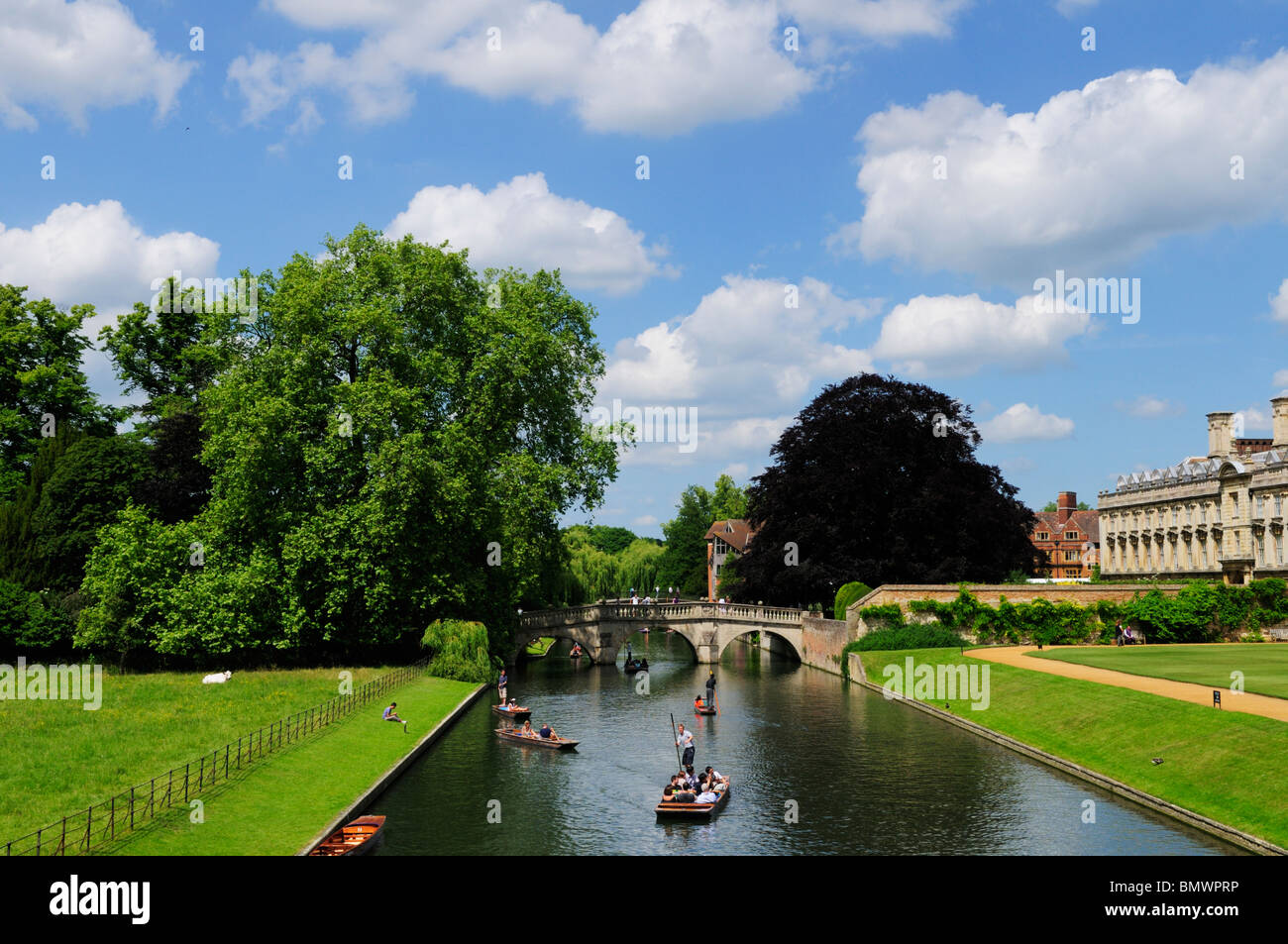 Punting on the River Cam from Kings Bridge looking towards Clare Bridge, Cambridge, England, UK - Stock Image