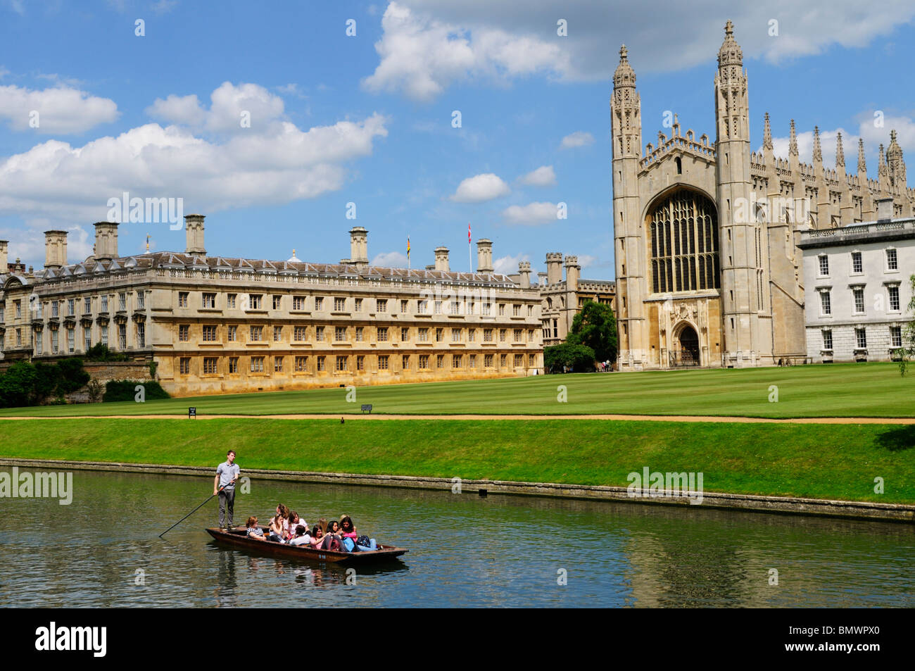 Punting on the River Cam at Kings College, Cambridge, England, UK - Stock Image