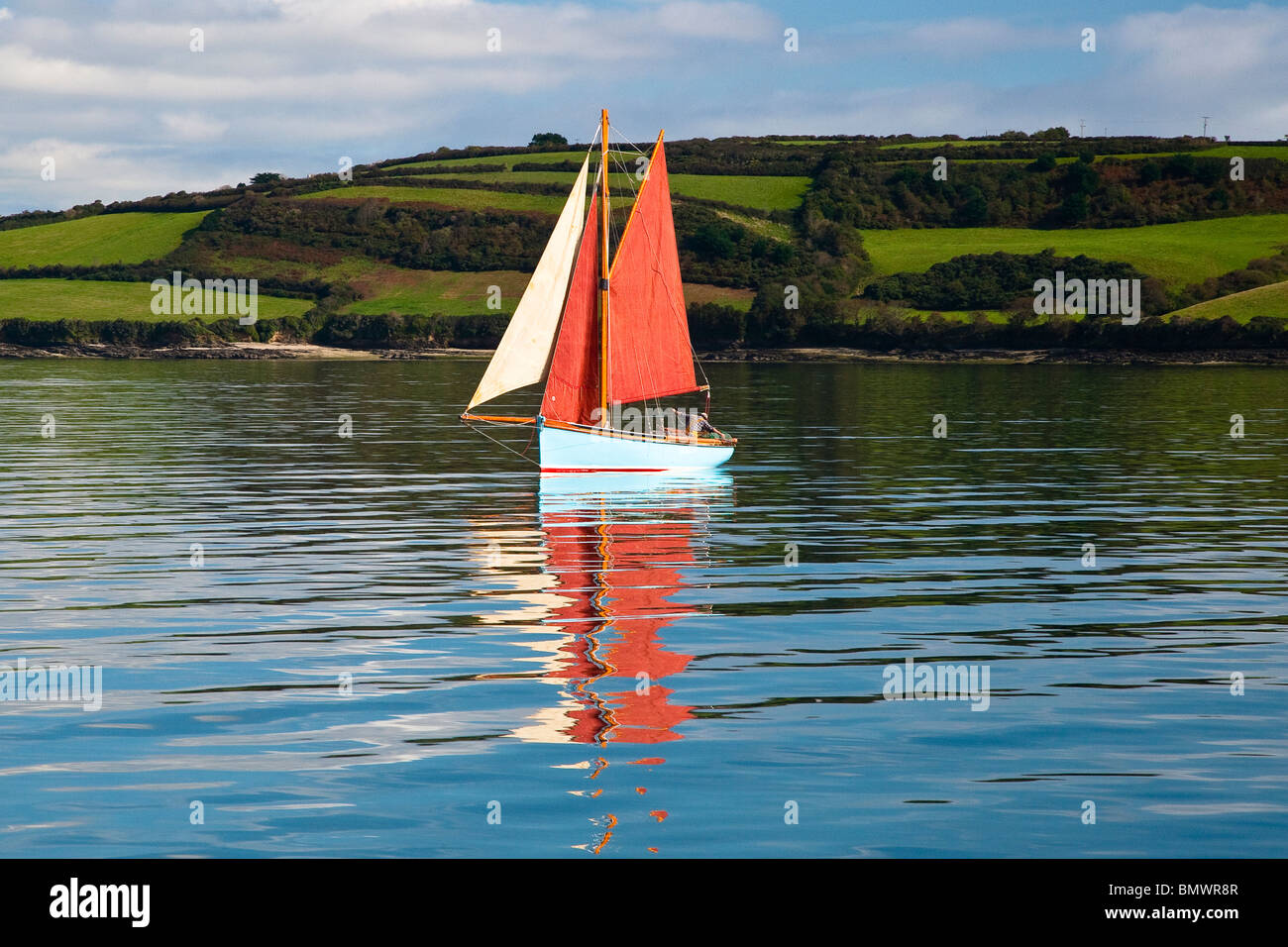 Oyster Fisherman Dredging for Oysters in the River Fal ,South West, Cornwall, England, UK Stock Photo