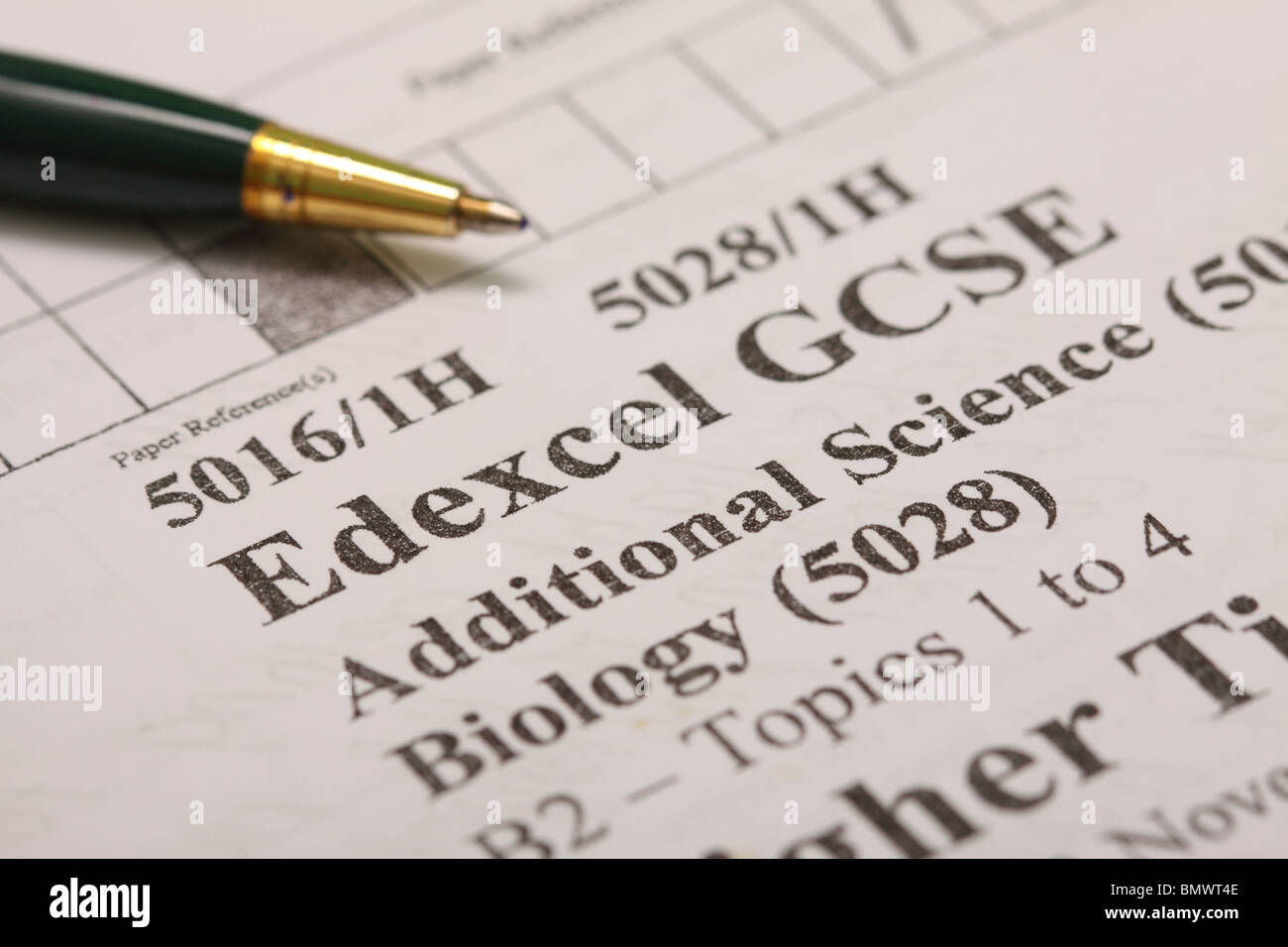 Edexcel GCSE exam paper Additional Science Biology Higher Tier grade - Stock Image