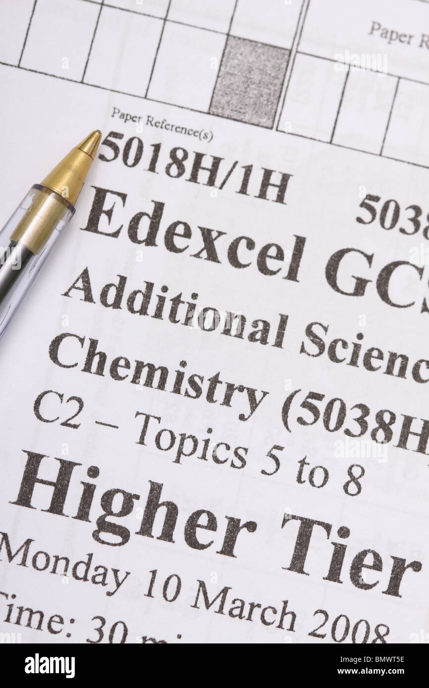 Edexcel GCSE exam paper Higher Tier grade - Stock Image