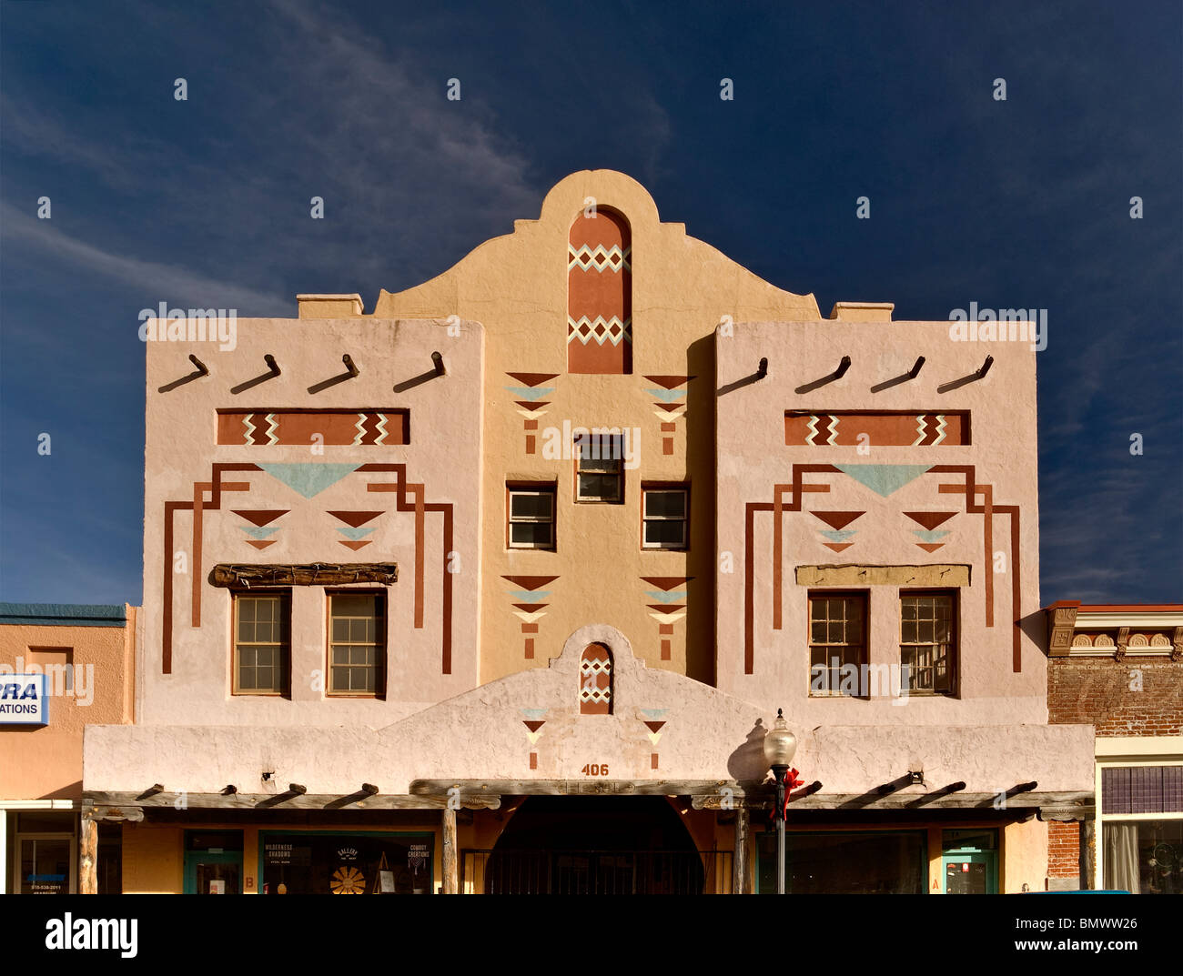 Historic building with motifs inspired by Indian designs at Bullard Street in Silver City, New Mexico, USA - Stock Image