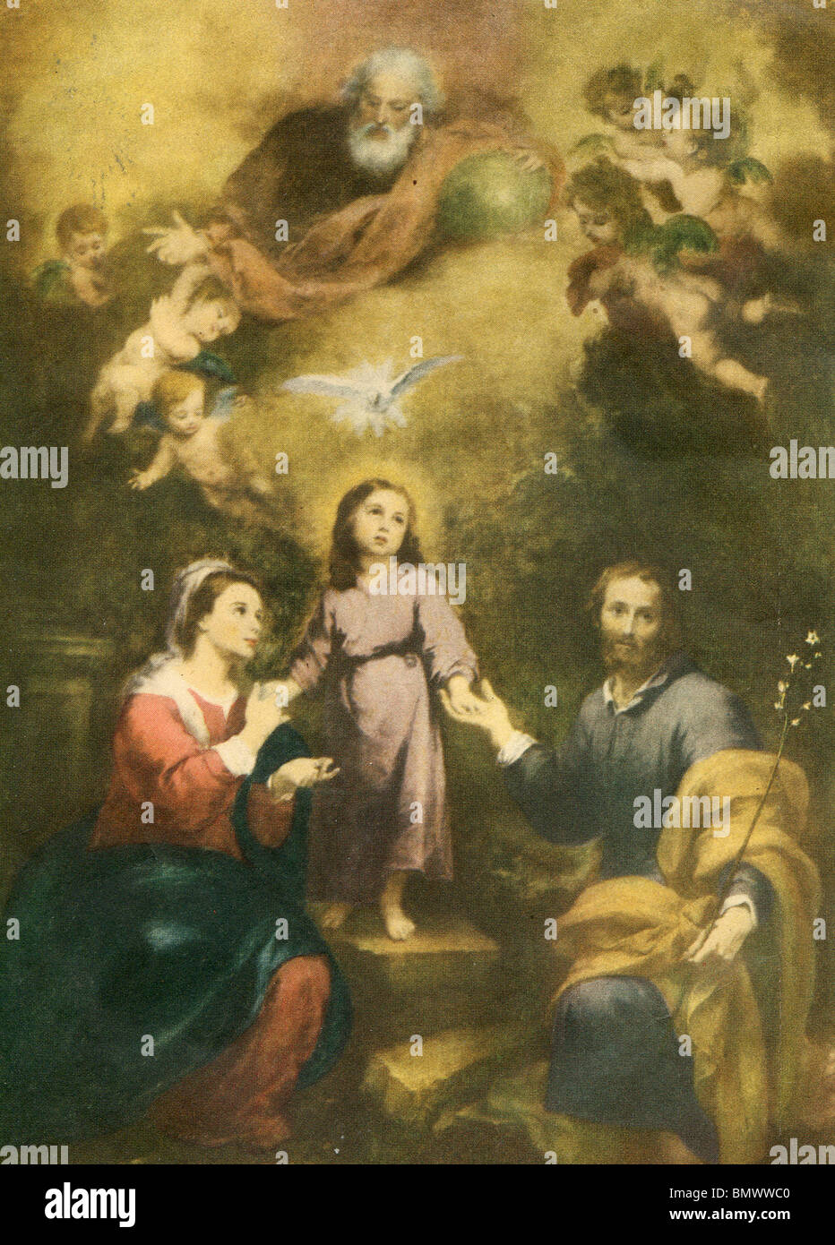 Biblical Scene with Dove and Cherubs - Stock Image