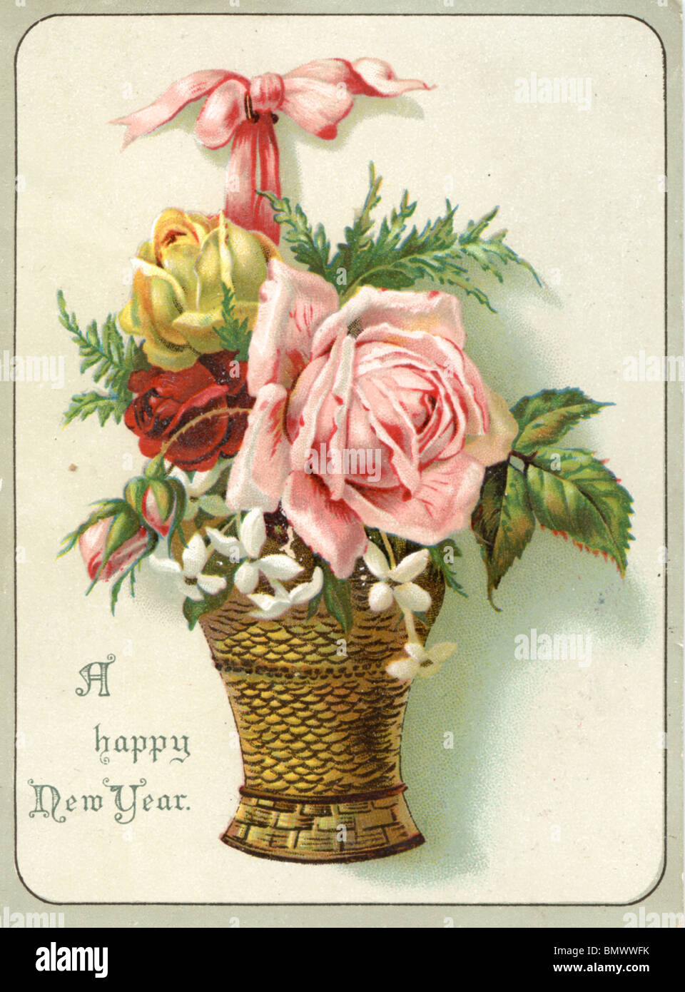 new year card pink yellow and red roses in a basket