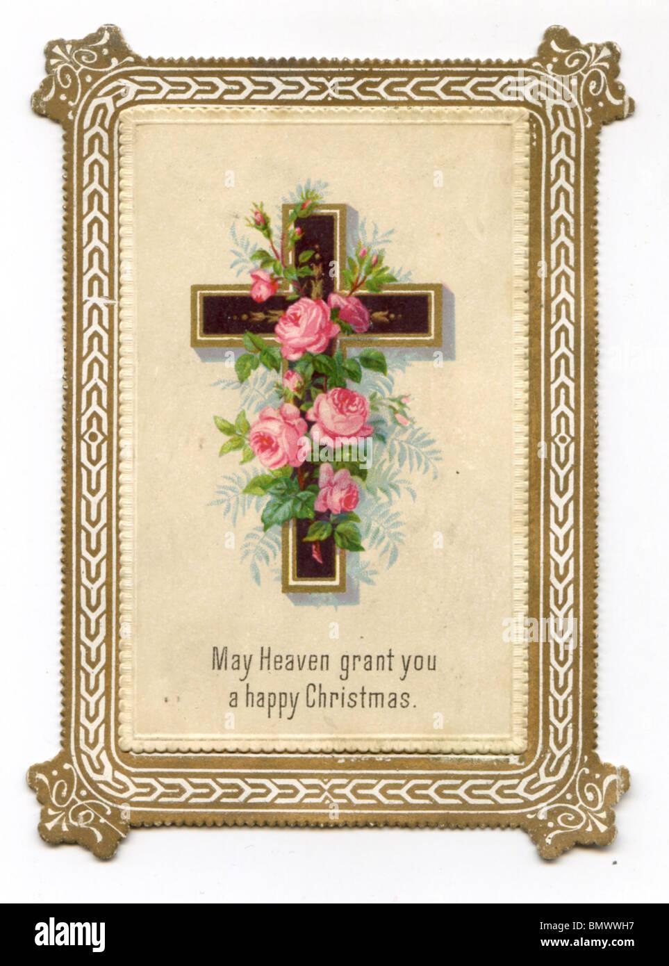 Christian christmas card stock photos christian christmas card christmas card cross and roses stock image m4hsunfo