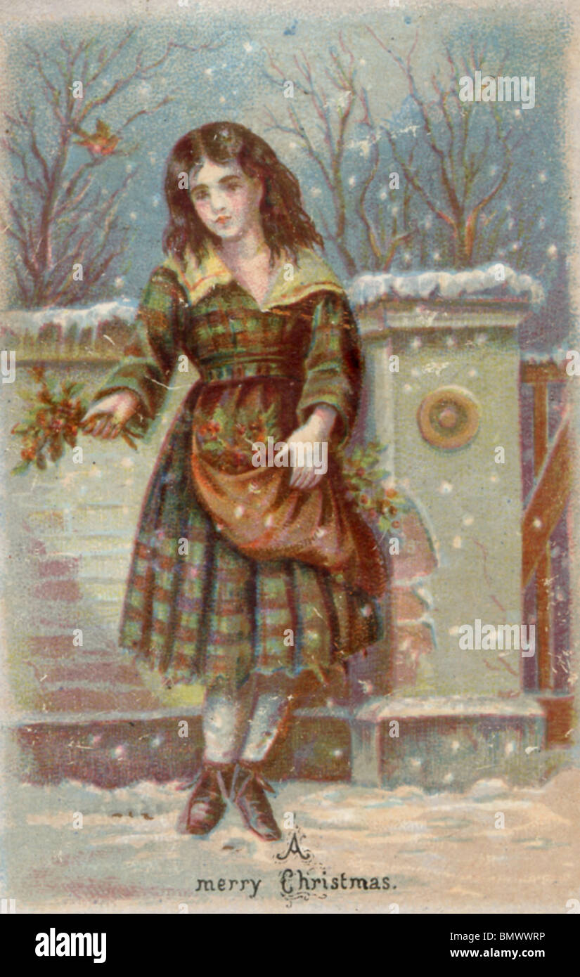 Christmas Card - Woman in the Snow Stock Photo: 30072554 - Alamy