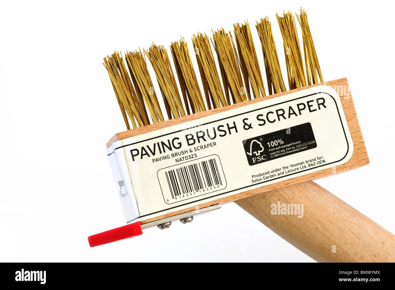 Block paving brush & scraper - Stock Image