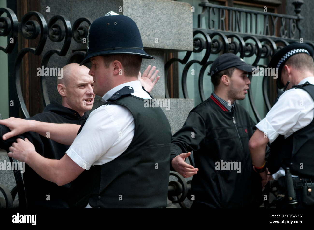 Police search members of English Defense League (LDF), Whitehall, London, UK, 20th June 2010 - Stock Image