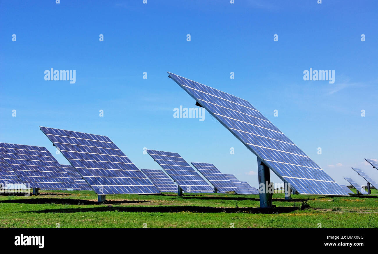 Central of photovoltaic panels. - Stock Image