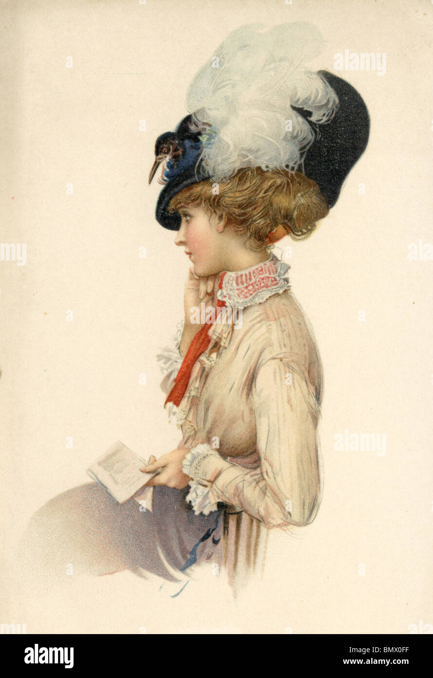 Woman with a Feather Bonnet - Stock Image
