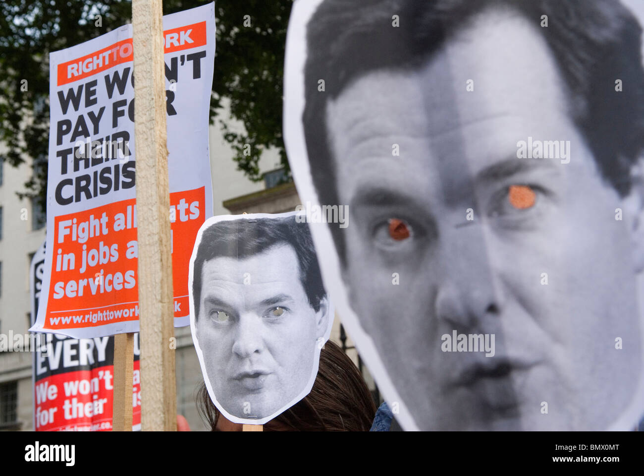 George Osborne protest demo against proposed Budget Day. Coalition Government Demonstration London UK - Stock Image