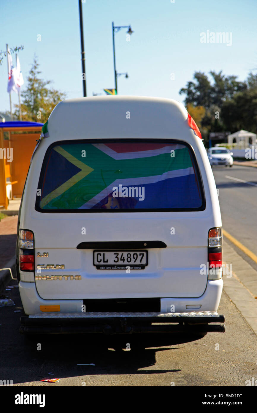 South african taxi proudly displaying flag during 2010 fifa world cup soccer stock image