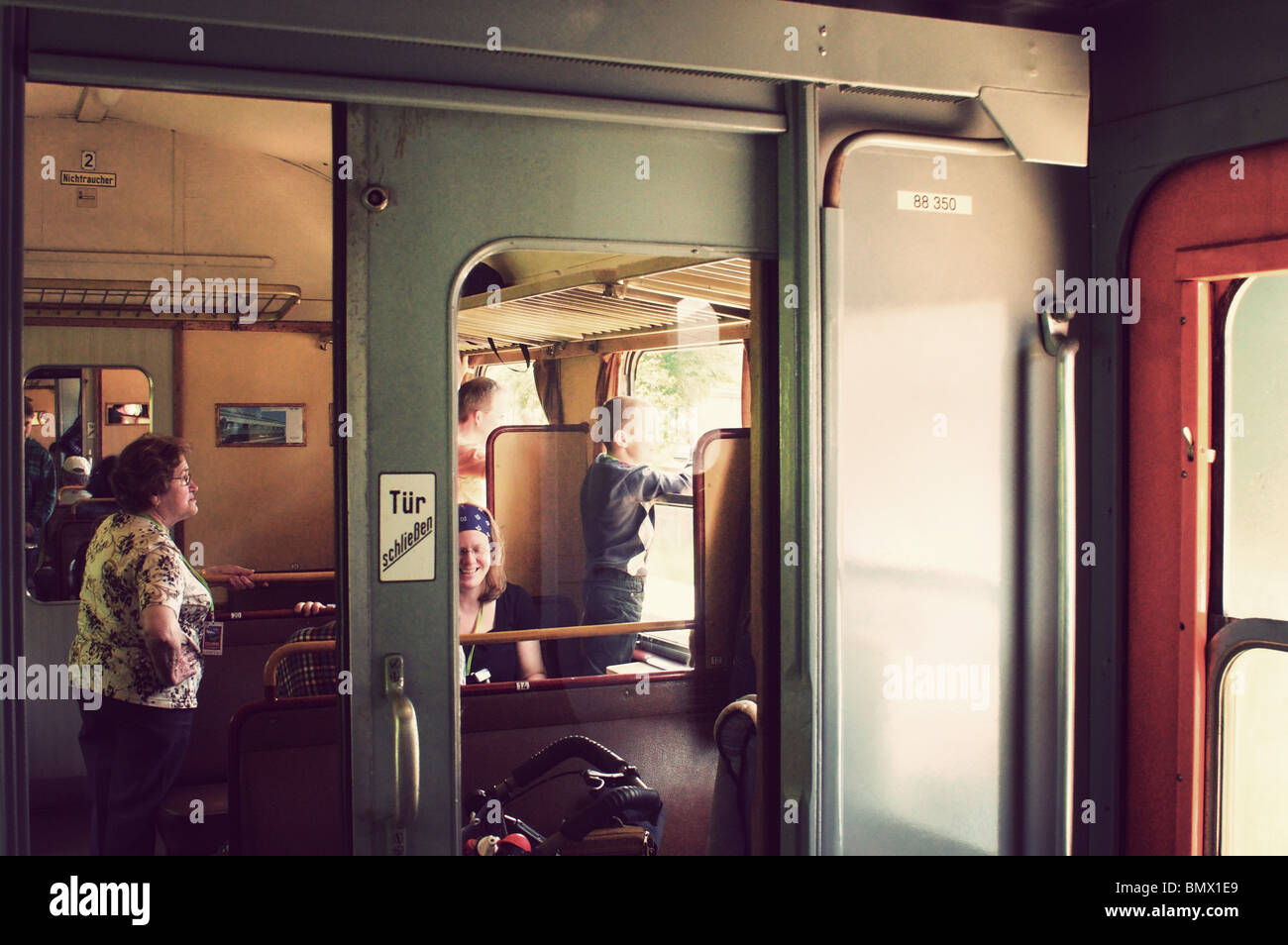 German 50s vintage Railroad Car , Donnerbuechse - Stock Image