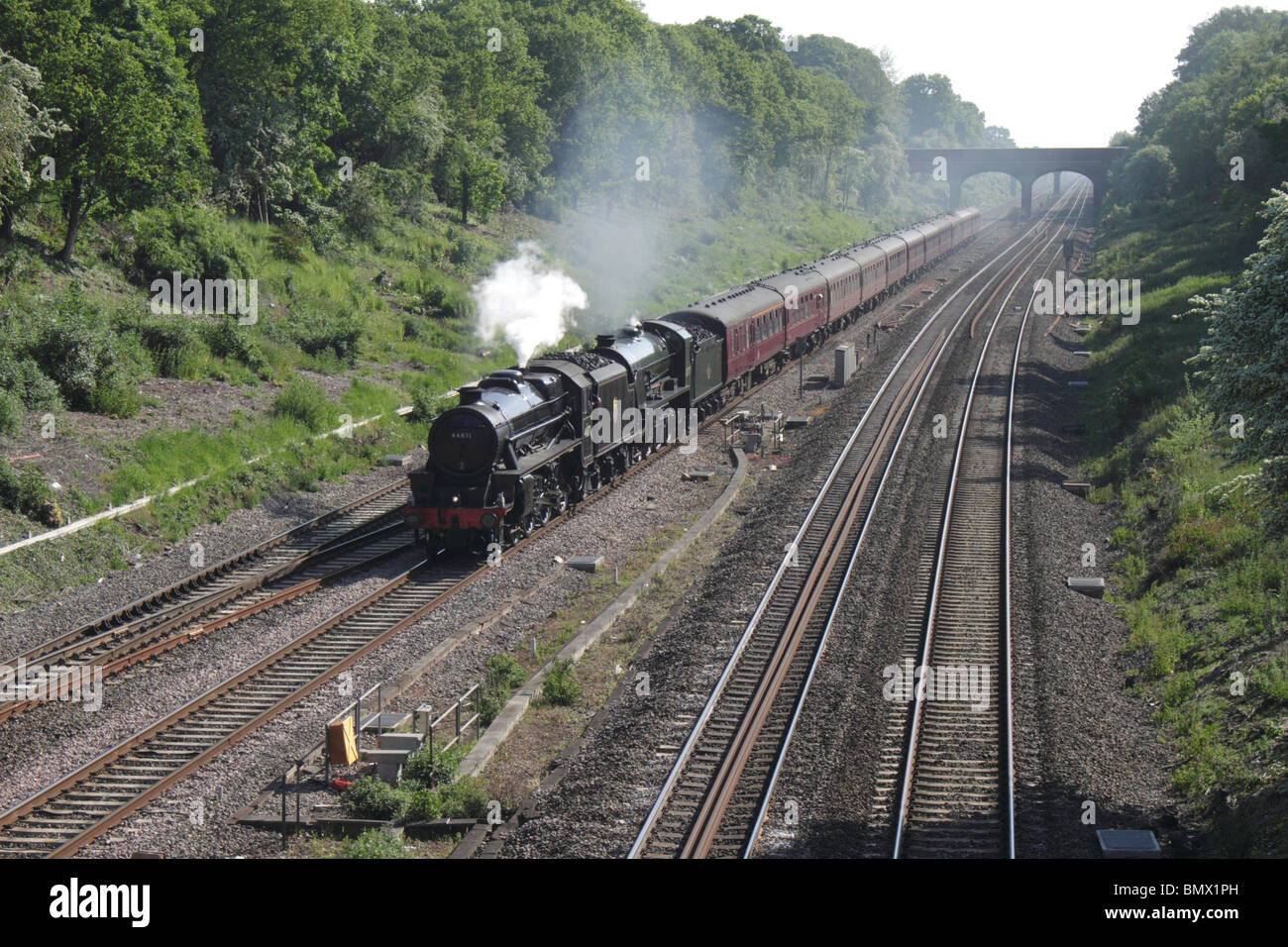 Class 5 and King Arthur 460 steam locomotives at Twyford 22 May 2010 - Stock Image
