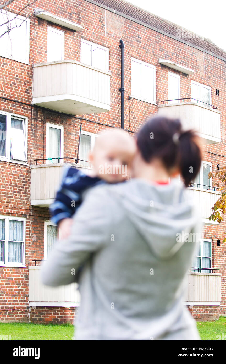 single mother with baby - Stock Image