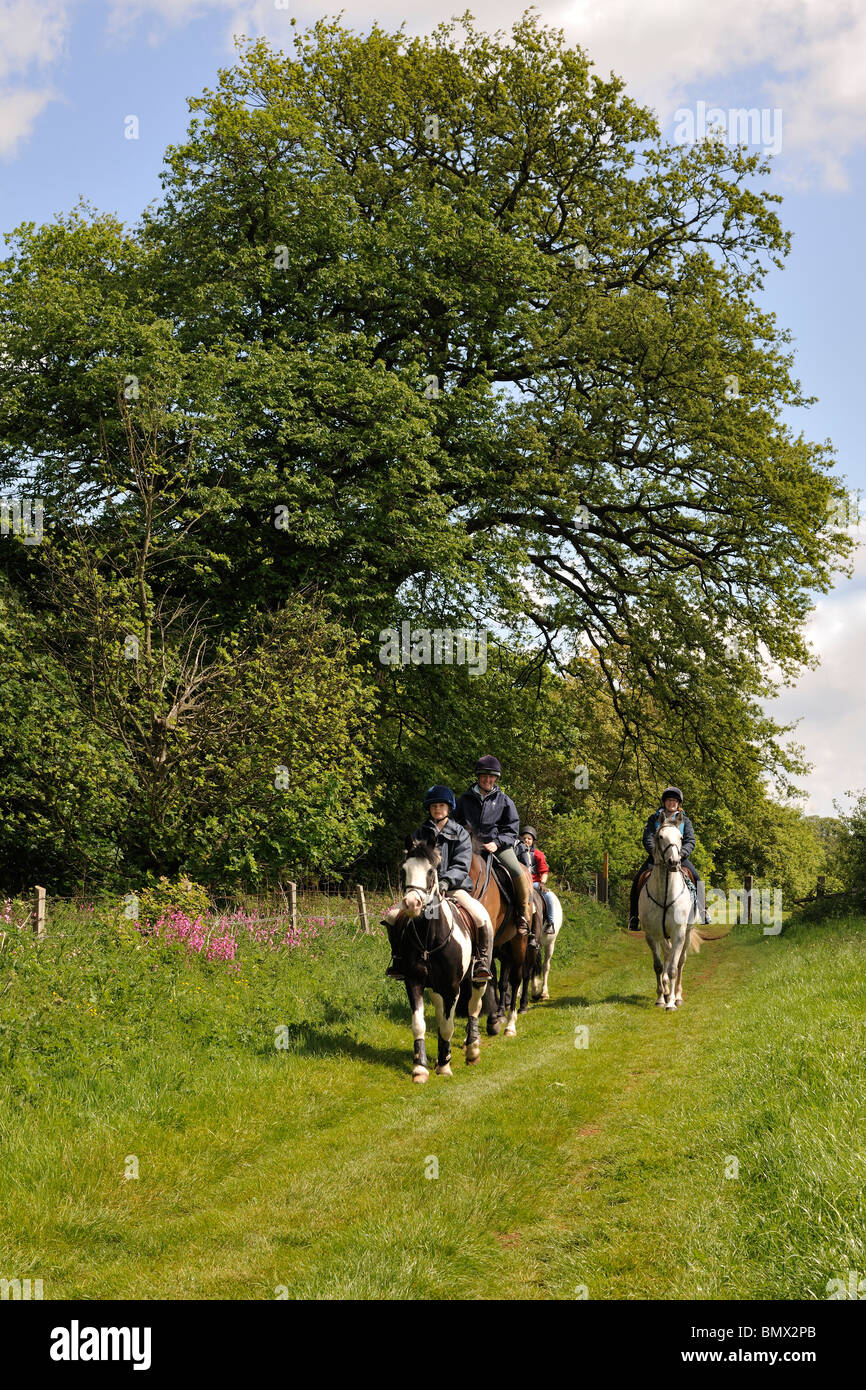 Riders on the Jubilee Way, a long-distance path in the East Midlands - Stock Image