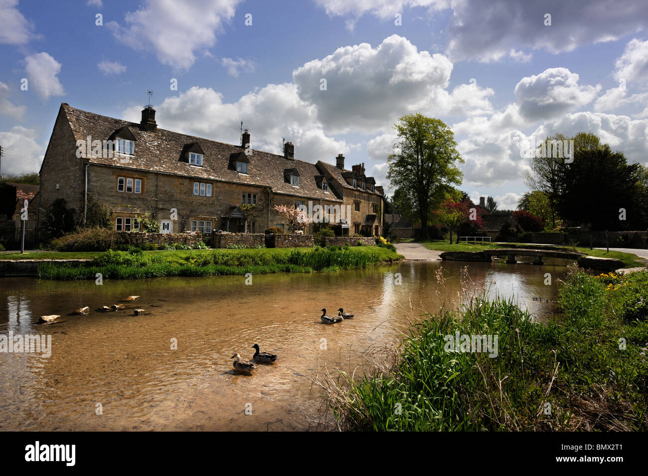The Cotswold village of Lower Slaughter, Gloucestershire UK - Stock Image