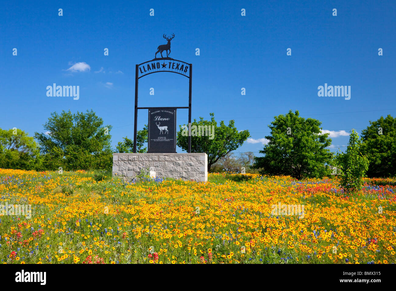 A modern sign and wildflowers for the city of Llano, Texas, USA. - Stock Image