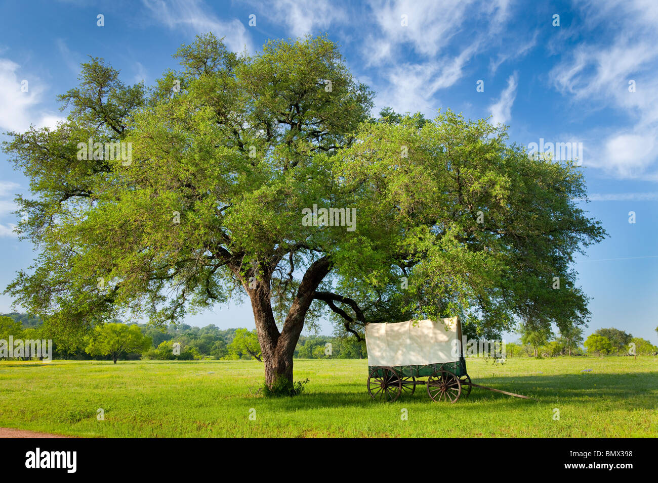A decorative covered wagon at a ranch in rural Texas hill country, USA. - Stock Image