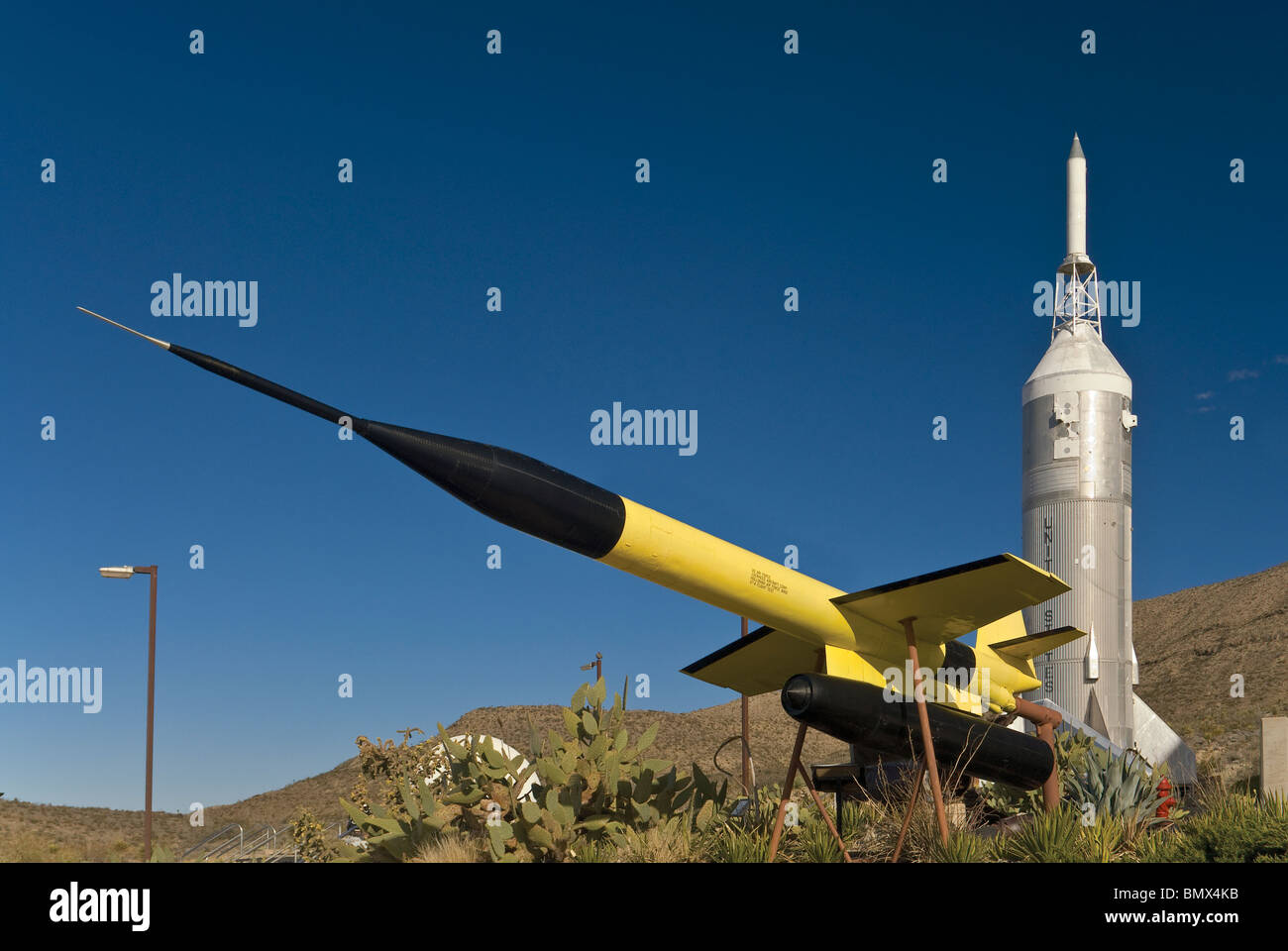 Lockheed X-7A and Little Joe II rockets at Museum of Space History in Alamogordo, New Mexico, USA - Stock Image