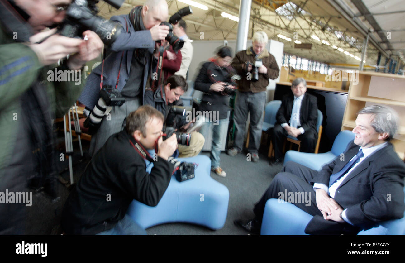 chris huhne  MP faces the media - Stock Image