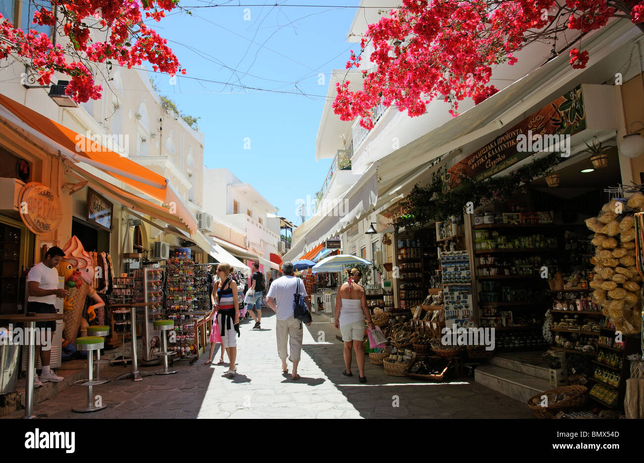 Shopping area in Kos Old Town on Kos Island Greece Tourists shop