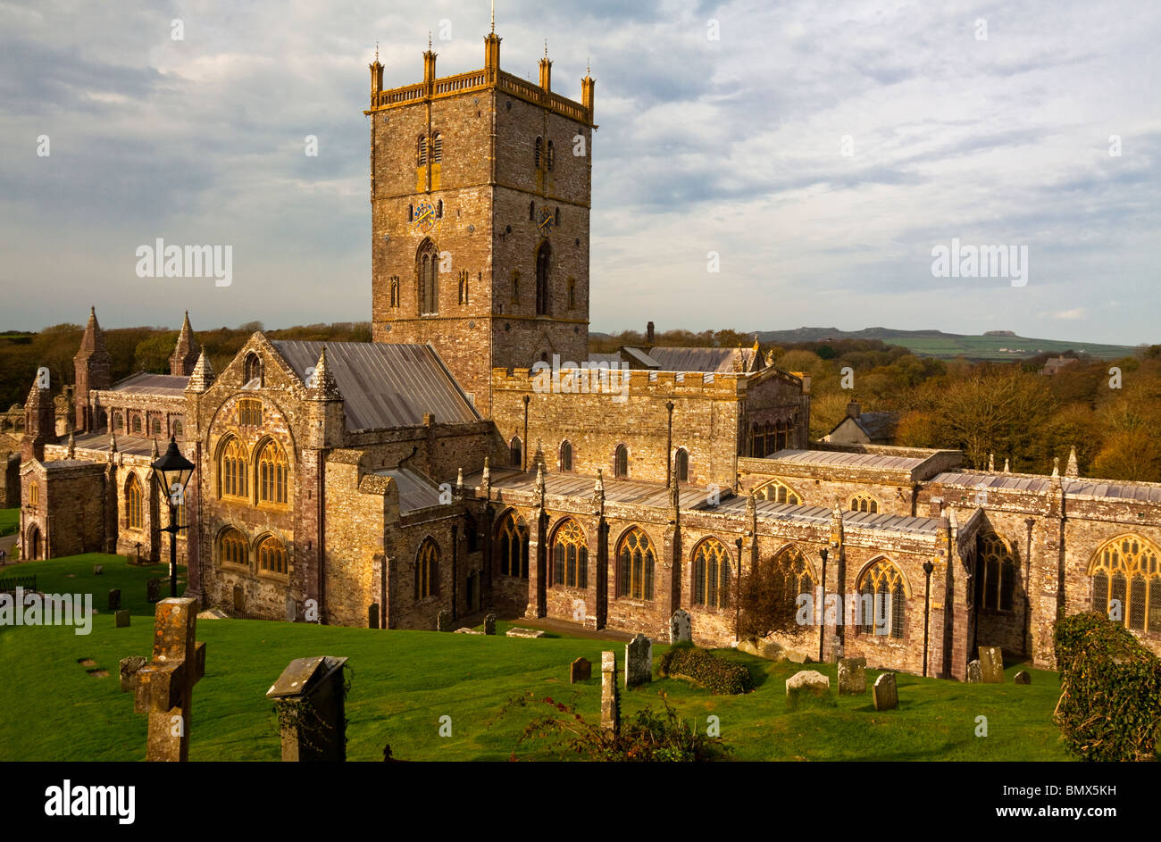 St Davids Cathedral in St Davids in the county of Pembrokeshire on the most western tip of South Wales UK built Stock Photo