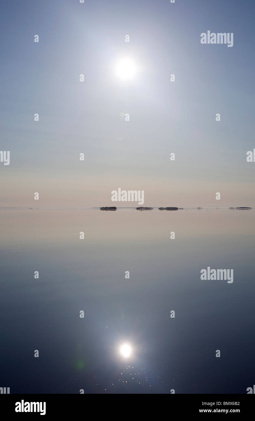 Absolutely windless at Baltic Sea , Gulf of Bothnia , Finland - Stock Image