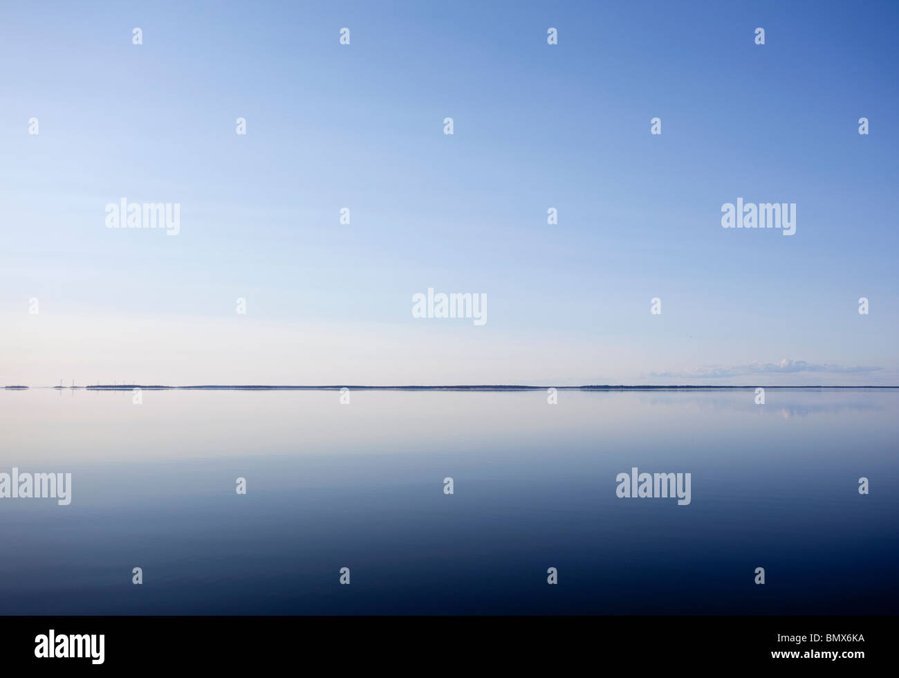 Absolutely windless Baltic Sea at Bothnian Bay , Finland - Stock Image