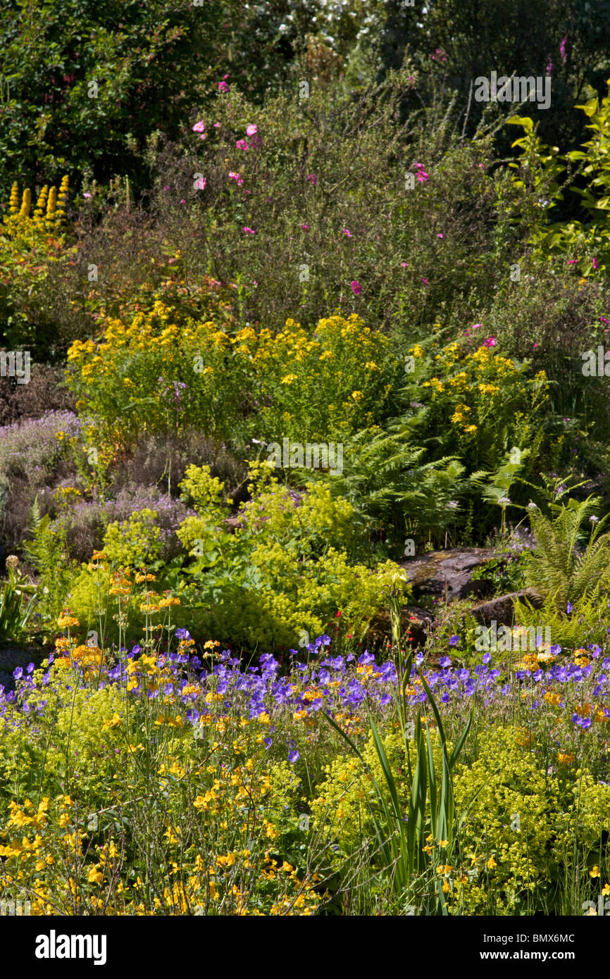 Lanscaped area of Ness Botanical Gardens - Stock Image