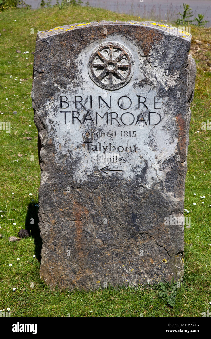 Brinore tramroad marker stone Trefil Wales UK - Stock Image