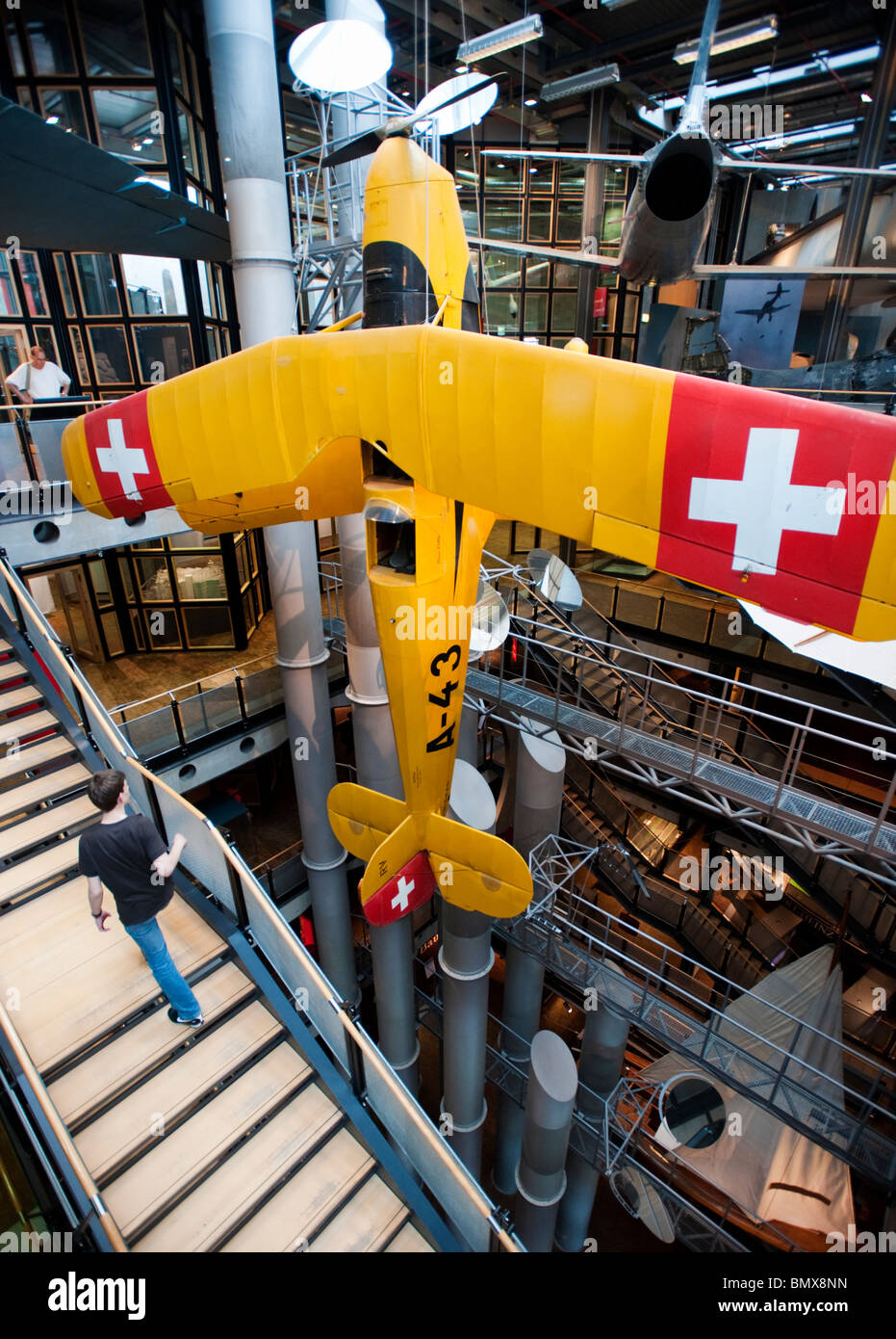 Historic aircraft on display at Deutsches Technikmuseum or German Technology Museum in Berlin Germany - Stock Image