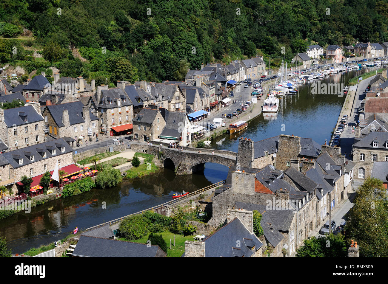 Looking down into lower Dinan and the River Rance from the Viaduc de Dinan Stock Photo