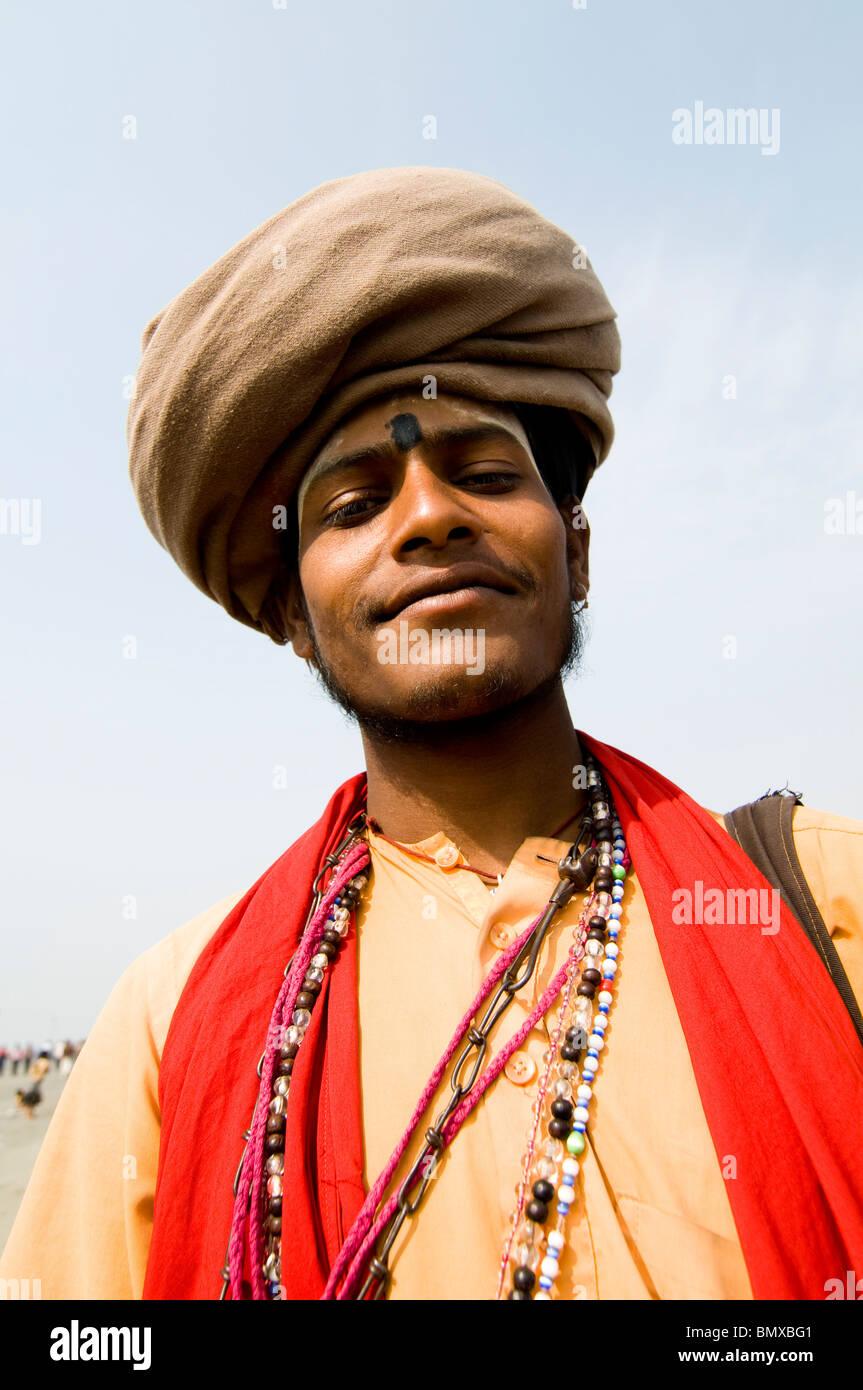 Portrait of a colorful Sadhu. - Stock Image