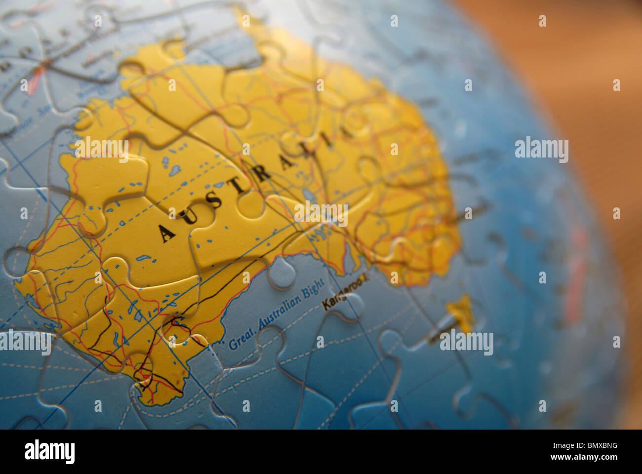 Australia Map Jigsaw.Detail Of A Globe Map Jigsaw Detail Australia Stock Photo