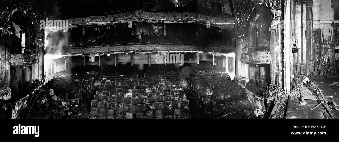 Panorama of Iroquois Theater after the fire, Dec. 31, 1903 - Stock Image
