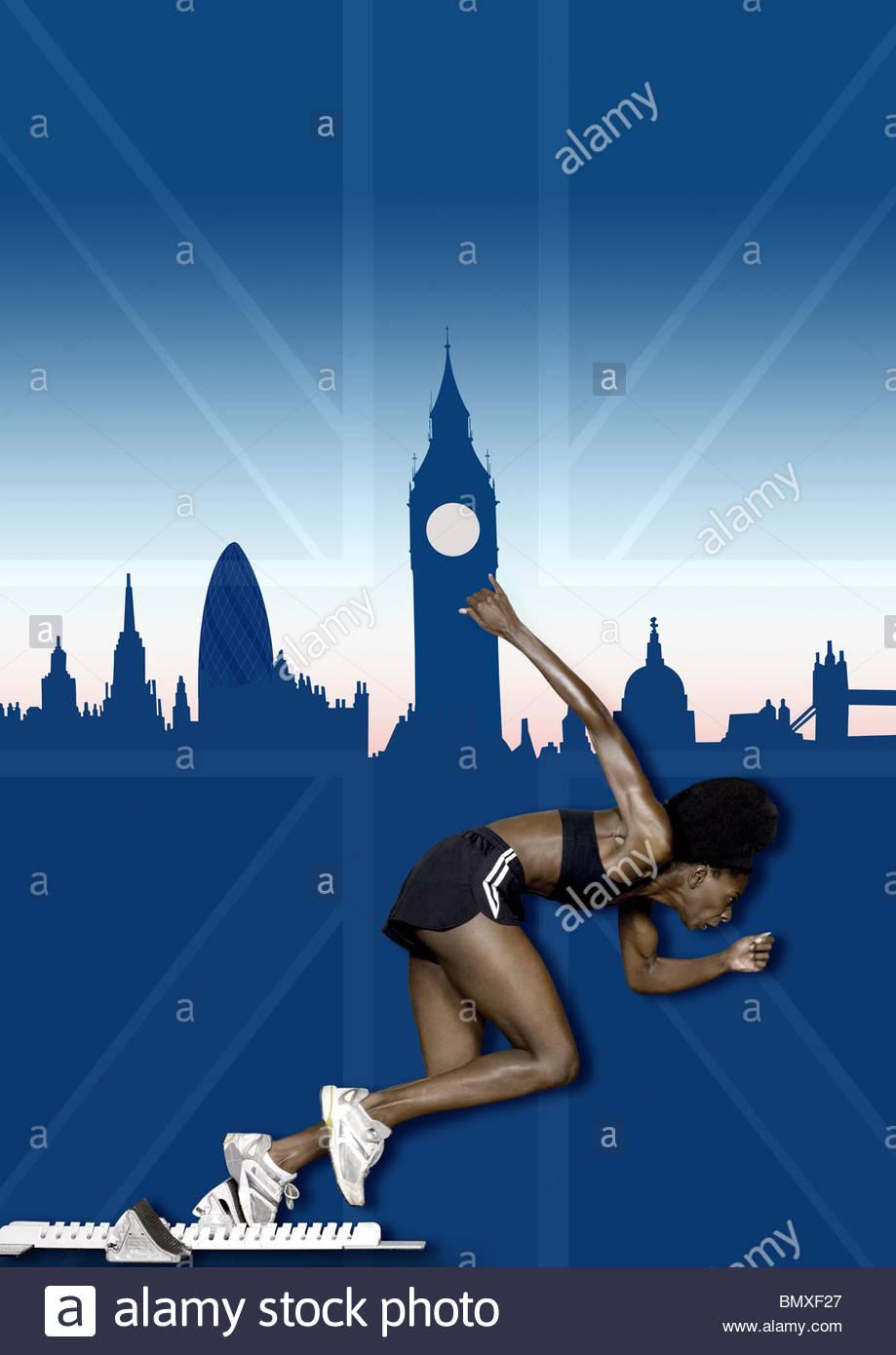 Athlete and london skyline - Stock Image